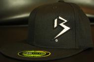 Two Tone Outline B White/Black on all Black Hat SKU # 0229-0102