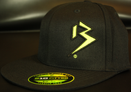 Two Tone Outline B Neon Yellow/Black on all Black Hat SKU # 0229-0110