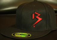 Two Tone Outline B Red/Black on all Black Hat SKU # 0229-0106