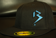 Two Tone Outline B Cyan Blue/Black on all Black Hat SKU # 0229-0188