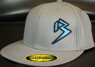 Two Tone Outline B Cyan Blue/Black on Dark Grey Hat SKU # 0229-158801