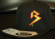 Two Tone Outline B Neon Green/Blood Orange on all Black Hat SKU # 0229-1222