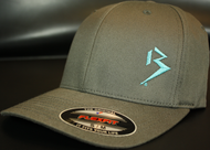 Original B emblem Dark Grey with Aqua B curve bill Flexfit hat SKU # 0281-1577