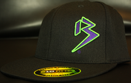 Two Tone Outline B Purple/Neon Green on all Black Hat SKU # 0229-012512