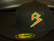 Two Tone Outline B Blood Orange/Neon Green on all Black Snapback Hat SKU # 0238-012212