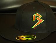Two Tone Outline B Blood Orange/Neon Green on all Black Snapback Hat SKU # 0238-012212