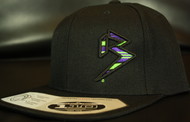 BLITZ Hat Blk/Neon Green/Purple on all Black 110 Snapback Sku # 0251-011225-OSFA