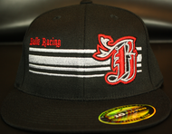 BR logo Silver/Red on all Black 210 Premium Fitted Sku # 0283-011806