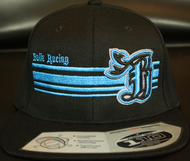 BR logo Cyan/Black on all Black 110 SNAPBACK Hat Sku # 0283-018801-OSFA