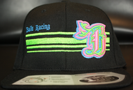 BR logo Cyan/Neon Green/Neon Pink on all Black 110 SNAPBACK Hat Sku # 0283-01881224-OSFA