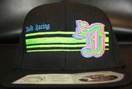 BR logo Cyan/Neon Green/Neon Pink on all Black 110 SNAPBACK Hat Sku # 0283-01881224-OSFA