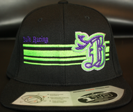 BR logo Purple/Neon Green on all Black 110 SNAPBACK Hat Sku # 0283-012512-OSFA