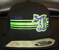 BR logo Purple/Neon Green on all Black 110 SNAPBACK Hat Sku # 0283-012512-OSFA