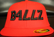 B477Z Red & Black 210 Premium Fitted Flat Bill SKU # 0248-0601