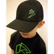 Youth Black Curve Bill with Neon Green Outline B Hat SKU # 0211-0112