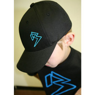 Youth Black Curve Bill with Cyan Blue Outline B Hat SKU # 0211-0188