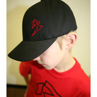 Youth Black Curve Bill with Red Outline B Hat SKU # 0211-0106