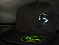 BLITZ Hat Black/Cyan/White on all Black 210 Premium Fitted Sku # 0251F-018802