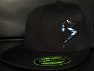 BLITZ Hat Black/Cyan/White on all Black 210 Premium Fitted Sku # 0251F-018802