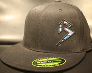 BLITZ Hat Black/Cyan/Neon Pink on all Black 210 Premium Fitted Sku # 0251F-018824