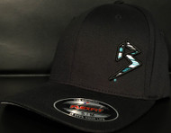 BLITZ Hat Black/Aqua/White on all Black Curved Bill Sku # 0251C-017702