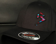 BLITZ Hat Black/Cyan/Red on all Black Curved Bill Sku # 0251C-018806