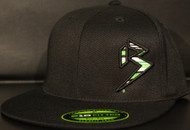BLITZ Hat Black/Neon Green/White on all Black 210 Premium Fitted Sku # 0251F-011202