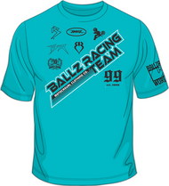 BALLZ RACING TEAM T-Shirt Aqua/Black/White SKU # 0154-7702
