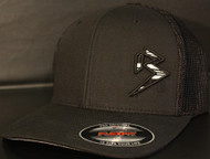 BLITZ TRUCKER Hat Black/White/Black on all Black Curved Bill Sku # 0251TC-010201