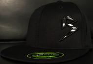 BLITZ Hat Black/White/Black on all Black 210 Premium Fitted Sku # 0251F-010201