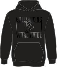 BALLZ RACING WORLDWIDE 100% Polyester Hoodie- BLACK/BLACK