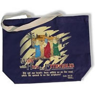 Walk With Him Tote Bag Navy