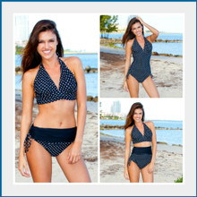 This is the perfect swimsuit.  Can be worn as a one piece, high waist, bikini, or anywhere in between.   Easily changes in seconds by simply folding the bottom piece either up or down. Four-way stretch fabric provides you with extra tummy control and an easy and comfortable fit. 82% poly 18% spandex Made in the USA Chic and Sexy Halter Top is always in style. Features include adjustable soft neck and back ties, and removable bra padding.   Multikini Bottoms are adjustable, convertible, and versatile. This is the bottom that does it ALL. Fits All Body Types