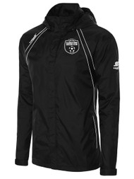 CLARKSTOWN RAVEN RAIN JACKET WITH ROLL UP HOOD -- BLACK WHITE