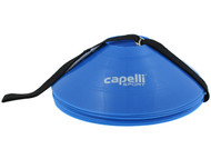 CAPELLI SPORT 10 PC TRAINING CONES WITH CARRY STRAP -- PROMO BLUE WHITE