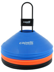 CAPELLI SPORT 30 PC TRAINING CONES WITH METAL CARRIER -- MULTI