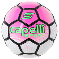 BOWERY HAND STITCHED SOCCER BALL -- NEON PINK WHITE BLACK