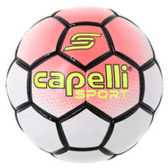 BOWERY HAND STITCHED SOCCER BALL -- NEON CORAL WHITE BLACK