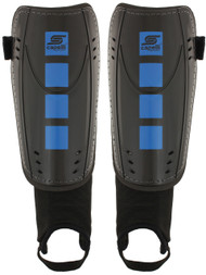 CS FOUR CUBES SHIN GUARDS  WITH ANKLE STRAP -- BLACK PROMO BLUE
