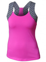 CLEARANCE JoFit Ladies & Plus Size Lagoon Tennis Tank Shirts - Jo Pink