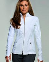 JoFit Ladies Thumbs Up Tennis Jackets - Cosmopolitan/Kona (White)