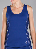CLEARANCE JoFit Ladies Rally Sleeveless Tennis Tank Tops - Cosmopolitan/Kona (Blue Depth)