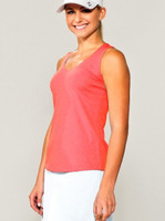 CLEARANCE JoFit Ladies Jo-Dry Jersey V-Neck Tennis Tanks - Tequila Sunrise (Coral Glow)