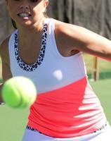 CLEARANCE JoFit Ladies & Plus Size Faux Layer Tennis Racer Tanks - Tequila Sunrise (Coral Glow)