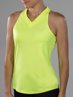 CLEARANCE JoFit Ladies & Plus Size Jacquard Betsy Tennis Tank Tops – Tahiti (Citron)