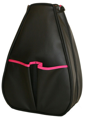 Black Faux Leather with Pink Lining