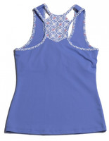 Turtles & Tees Junior Girls Kara Racerback Tennis Shirts - Periwinkle/Periwinkle Tee's Squared