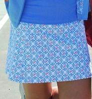 Turtles & Tees Junior Girls Christina Tennis Skort with Back Pleats - Periwinkle Tee's Squared