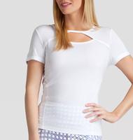 Xenia Short Sleeve Tennis Top - White