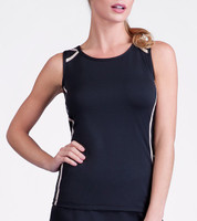 Annalise Black Sleeveless Tennis Tank Top